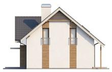 Проект котеджу з гаражем і великим мансардним вікном