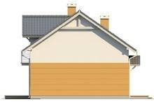 Проект будинку з мансардою, балконом, і кухнею з боку саду