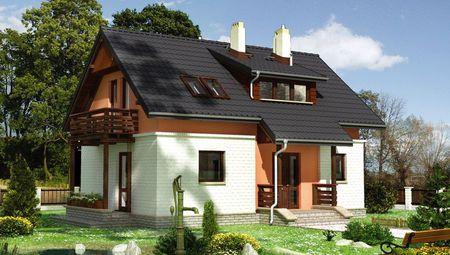 Гарний заміський будиночок з дерев'яною верандою