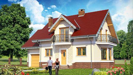 Проект гарної вілли з терасою та балконами
