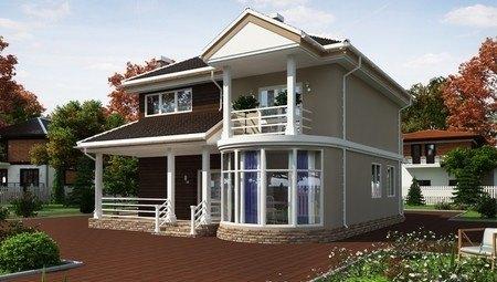 Стильний двоповерховий особняк з круглим панорамним вікном