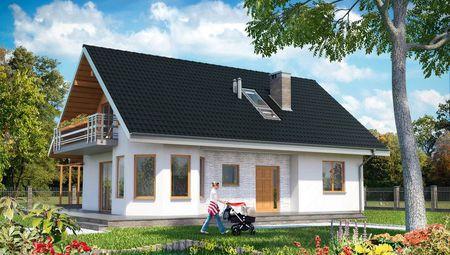 Стильний заміський котедж з дерев'яною терасою
