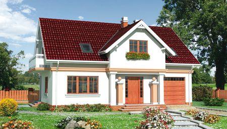 Заміський котедж з мансардним поверхом та площею 180 m²