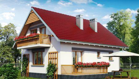 Проект мансардного будинку з еркером 9 на 10
