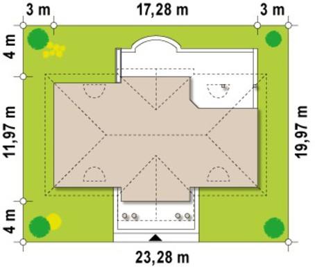 Проект будинку в метро стилі з чотирьохскатним дахом