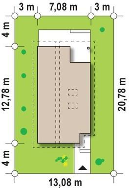 Проект дачного енергозберігаючого будинку для вузької ділянки