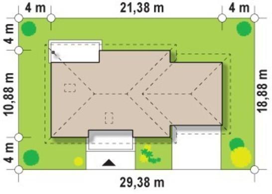 Проект одноповерхового будинку з великим гаражем