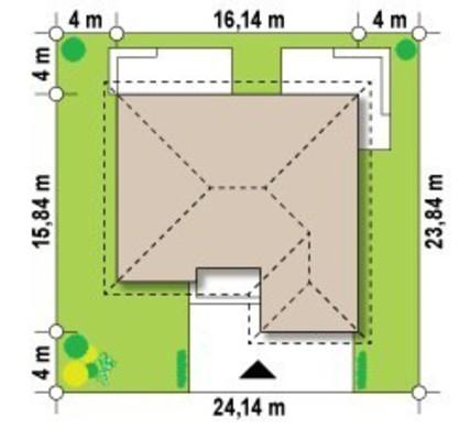 Проект одноповерхового будинку з гаражем і світлою вітальнею
