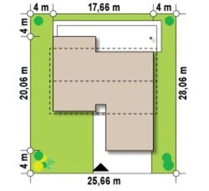 Проект одноповерхового будинку простої форми з гаражем для двох авто