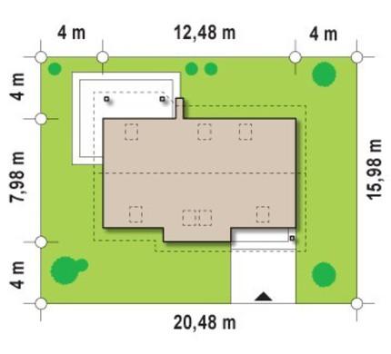 Проект класичного будинку з великою кімнатою на першому поверсі