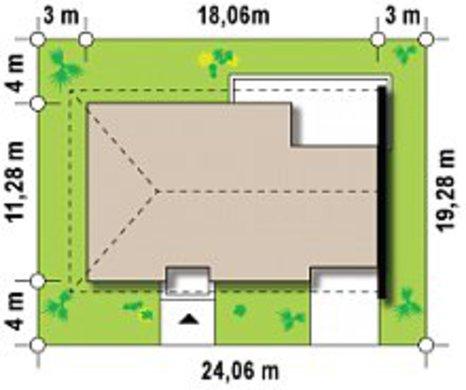 Проект симетричного одноповерхового будинку на 2 сім'ї