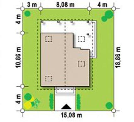 Проект будинку з мансардою і зовнішнім каміном за типом 4M362