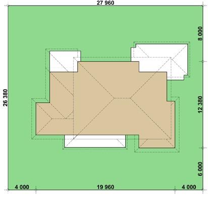 Проект зручного заміського котеджу з гаражем для двох сімей