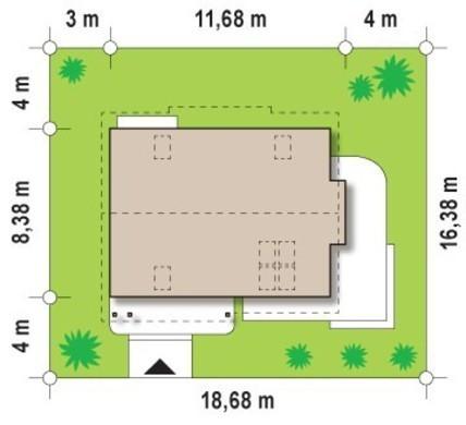 Проект котеджу для вузької ділянки
