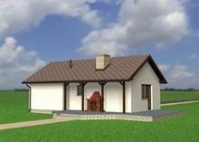 Проект одноповерхової будівлі з гаражем, санвузлом і каміном