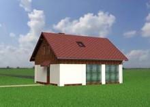 Архітектурний проект гаража для двох автомобілів з кухнею на горищі