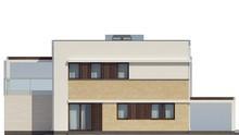 Проект двоповерхового котеджу з плоским дахом і просторою терасою