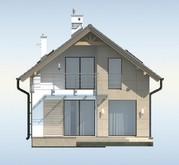 Проект будинку для вузької ділянки, з гаражем і терасою над ним