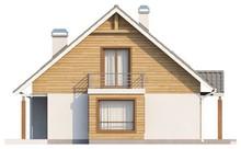 Проект котеджу з мансардою, еркером і балконом, стильним фасадом