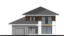 Стильний особняк в два поверхи з дахом складної форми