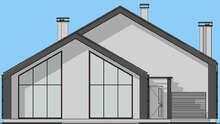Схема сучасного котеджу з вбудованим гаражем площею 208 кв. м