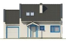Проект невеликого світлого котеджу з гаражем, стильними великими вікнами