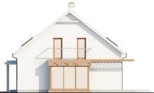 Проект будинку з мансардою, скляним еркером і гаражем