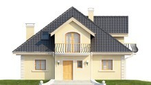 Проект будинку з балконом і невеликою терасою