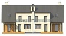 Проект будинку на дві сім'ї з окремими входами і двома гаражами