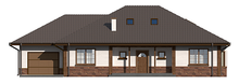 Проект великого заміського котеджу з гаражем і мансардою