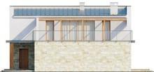 Проект двоповерхового сучасного будинку з терасою і гаражем