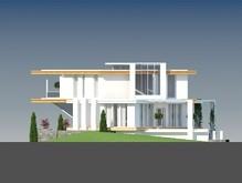Проект будинку в стилі хай тек з гаражем в цокольні