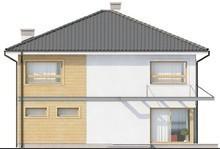 Проект двоповерхового будинку з чотирьохскатним дахом і подовженим гаражем