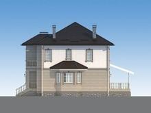 Проект двоповерхового класичного котеджу з гаражем для 1 авто