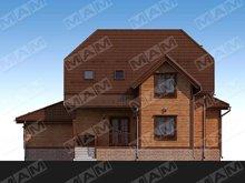 Проект мансардного котеджу з дерев'яним фасадом