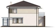 Проект двоповерхового котеджу з низьким дахом і гаражем для двох авто