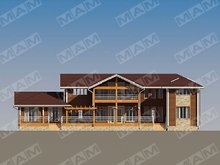 Архітектурний проект двоповерхової вілли з дерев'яним фасадом