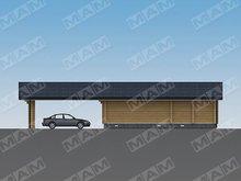 Проект зручного гаража з дерев'яним фасадом