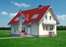 Стильний будинок на два поверхи з яскравою дахом