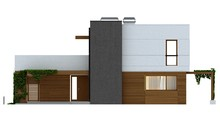 Проект сучасного будинку з терасою і гаражем для 2 авто