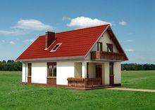 Невеликий заміський дім з верандою та балконом з дерева