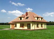 Великий заміський будинок на два поверхи з гарною терасою