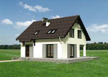 Невеликий заміський котедж з мансардним поверхом та терасою