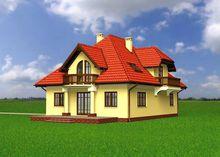 Гарний будинок 10 на 13 м з дерев'яними балконами