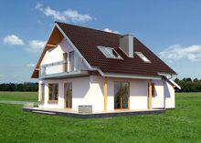 Мансардний будинок з круглим еркером в кухонній зоні