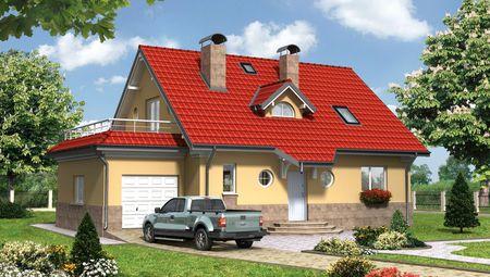Барвистий котедж в два поверхи з терасою над гаражем
