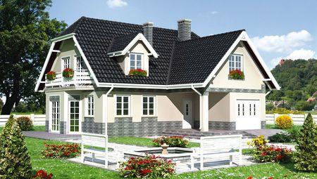 Симпатичний двоповерховий котедж в англійському стилі