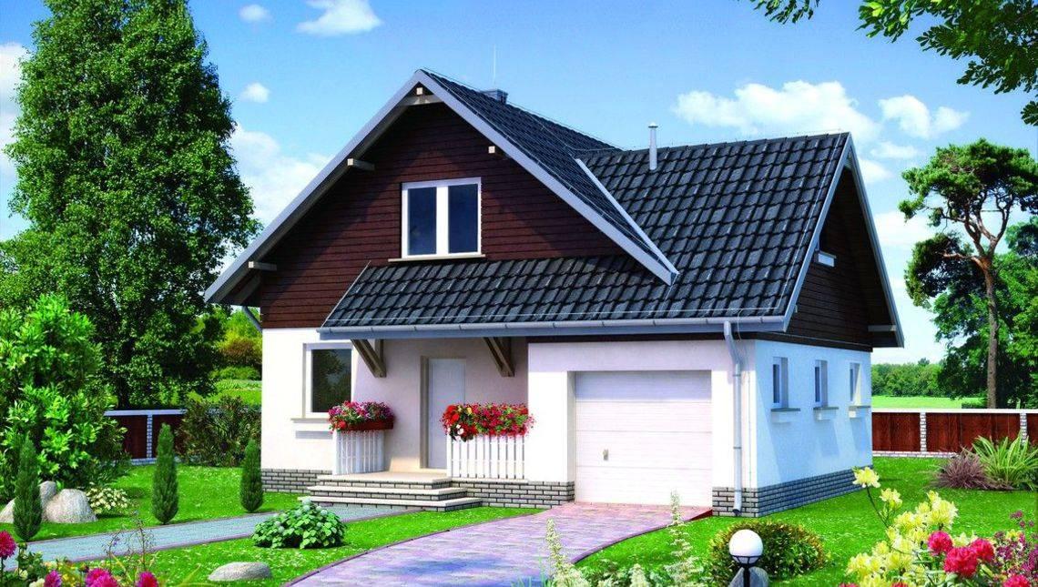 Проект будинку з мансардою та гаражем на 1 машину