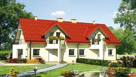 Таунхаус на дві квартири з трикутними еркерами і балконами
