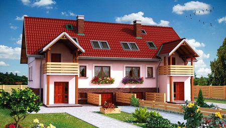 Проект дворівневого таунхауса площею 190 кв. м на кожну квартиру, з цокольним поверхом